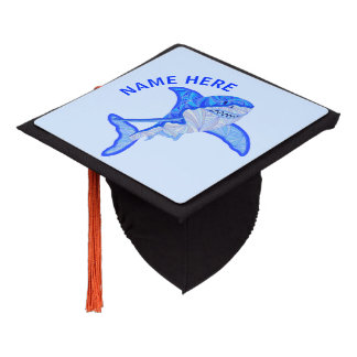 Blue Great White Shark Colorful Sea Animal Graduation Cap Topper