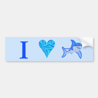 Blue Great White Shark Colorful Sea I Heart Sharks Bumper Sticker