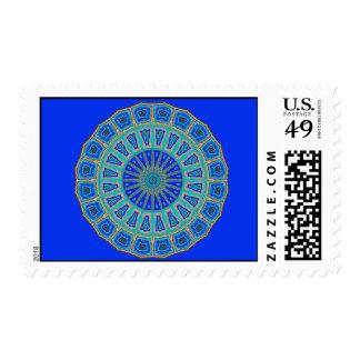 Blue Grecian Tiles Kaleidoscope Postage Stamps
