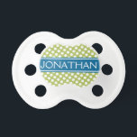 """Blue &amp; Gree Polka Dot Pattern for Baby Boy or Girl Pacifier<br><div class=""""desc"""">A classic design with dots and a ribbon for the baby&#39;s name. You can change the text to a monogram.</div>"""