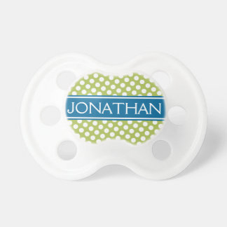 Blue Gree Polka Dot Pattern for Baby Boy or Girl Pacifier