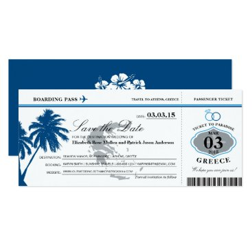 Blue Greece Boarding Pass Save the Date Card