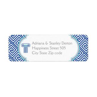Blue Greek key and column Grecian wedding Label