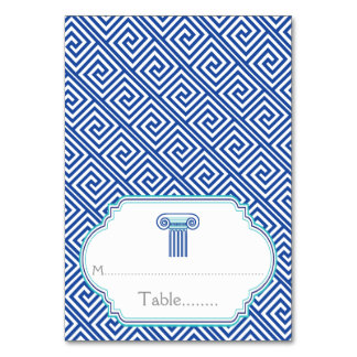 Blue Greek key and column wedding place card