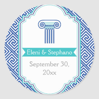 Blue Greek key and column wedding Save the Date Classic Round Sticker