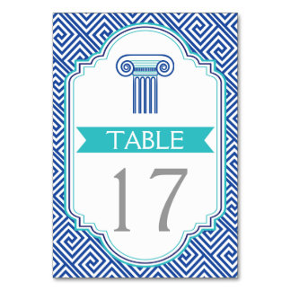 Blue Greek key and column wedding table number Table Card