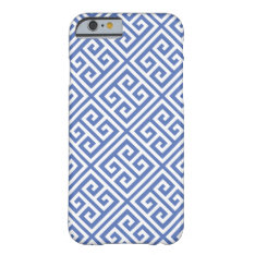 Blue Greek Key Pattern Barely There Iphone 6 Case at Zazzle