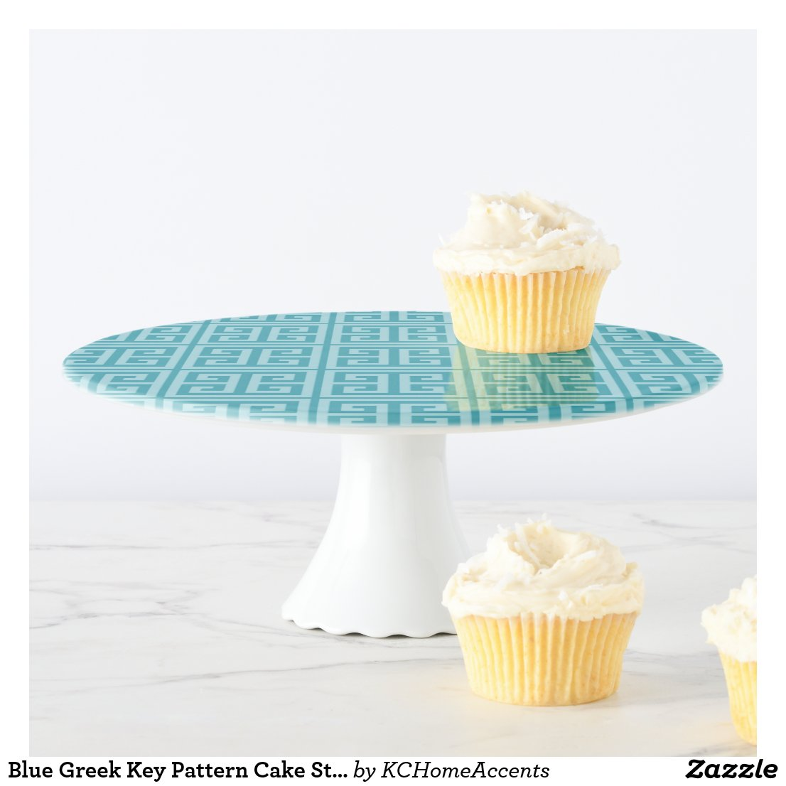Blue Greek Key Pattern Cake Stand