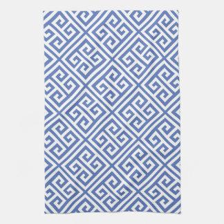 Blue Greek Key Pattern Hand Towel