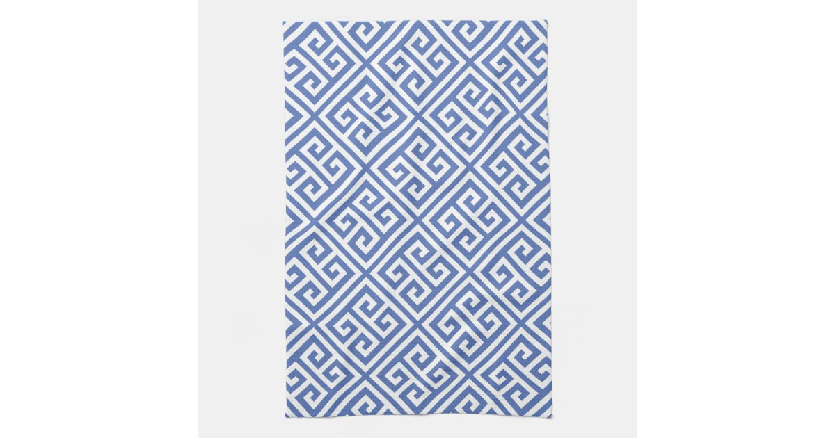 Blue Greek Key Pattern Hand Towel Zazzle Com