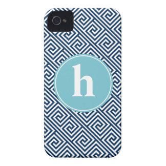 Blue Greek Key Pattern Monogram iPhone 4 Cover