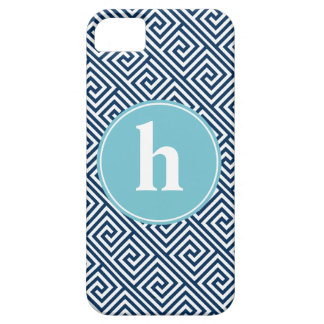 Blue Greek Key Pattern Monogram iPhone SE/5/5s Case