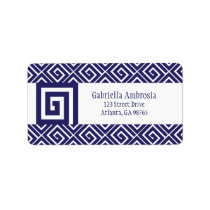 Blue Greek Spirals Address Label
