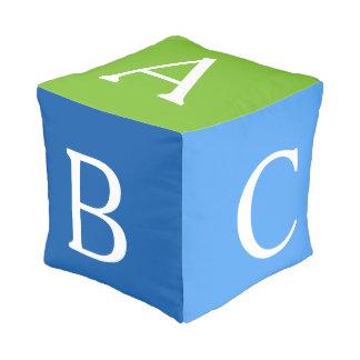 Blue Green ABC Alphabet Block Pouf