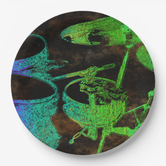 Blue Green Abstract Drum Set Paper Plates