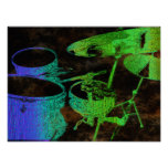 Blue Green Abstract Drum Set Poster