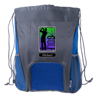 Blue Green Abstract Golfer Personalized Drawstring Backpack