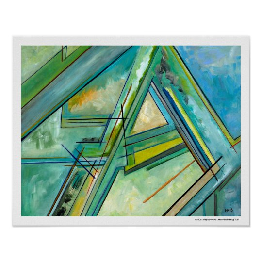 Blue Green Abstract Map by Marie Christine Belkadi Poster