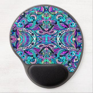 Blue-Green Abstract Ornate Swirls 2 Large Print Gel Mouse Pad