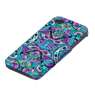 Blue-Green Abstract Ornate Swirls 2 Large Print iPhone 4 Cases