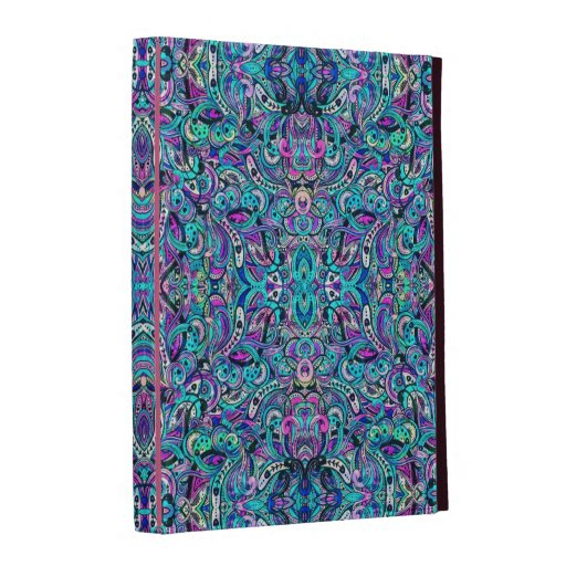 Blue-Green Abstract Ornate Swirls iPad Cases
