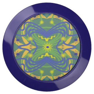Blue Green Abstract Pattern USB Charging Station