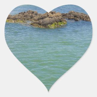 Blue Green Abstract Water Photograph Heart Sticker