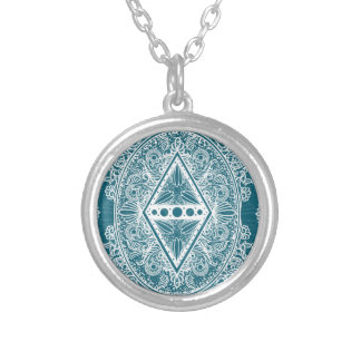 Blue Green Age of awakening, bohemian, newage Silver Plated Necklace