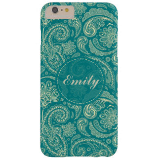Blue-Green And Beige Creme Vintage Paisley Barely There iPhone 6 Plus Case