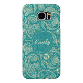 Blue-Green And Beige Creme Vintage Paisley Samsung Galaxy S6 Cases
