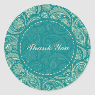 Blue-Green And Beige Creme Vintage Paisley Classic Round Sticker