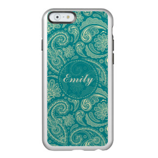 Blue-Green And Beige Creme Vintage Paisley Incipio Feather® Shine iPhone 6 Case