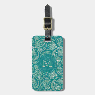 Blue-Green And Beige Creme Vintage Paisley Tags For Bags