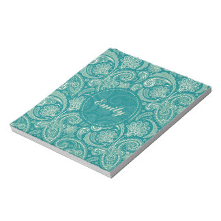 Blue-Green And Beige Creme Vintage Paisley Memo Note Pad