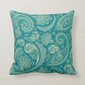 Blue-Green And Beige Creme Vintage Paisley Throw Pillow
