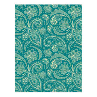 Blue-Green And Beige Creme Vintage Paisley Postcard