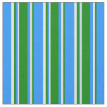 [ Thumbnail: Blue, Green, and Beige Lines Pattern Fabric ]