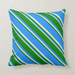 [ Thumbnail: Blue, Green, and Beige Lines Pattern Throw Pillow ]