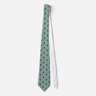 Blue-Green and Brown Fuchsia Floral Damask Pattern Tie
