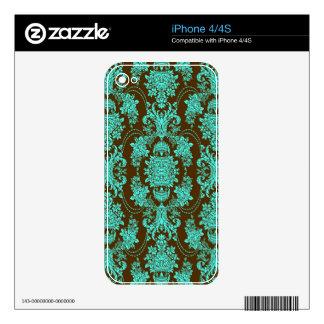 Blue-Green And Brown Vintage Floral Baroque Design Skin For iPhone 4