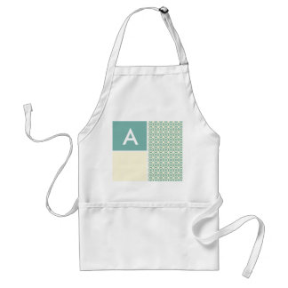 Blue-Green and Cream Floral; Cute Adult Apron