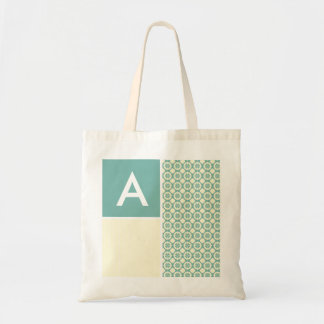Blue-Green and Cream Floral; Cute Budget Tote Bag