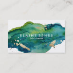 "Blue Green and Gold Splatter Business card<br><div class=""desc"">Stylish business card featuring a rich watercolor texture and splatters of gold for a touch of lux</div>"