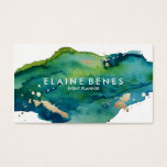 Blue Green and Gold Splatter Business card<br><div class='desc'>Stylish business card featuring a rich watercolor texture and splatters of gold for a touch of lux</div>