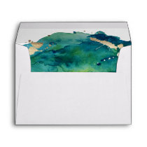 Blue Green and Gold Splatter Custom Envelope