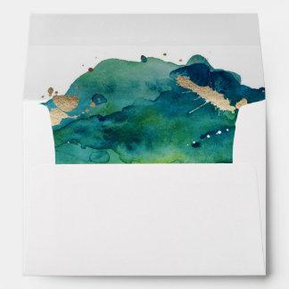 Blue Green and Gold Splatter Custom Envelope