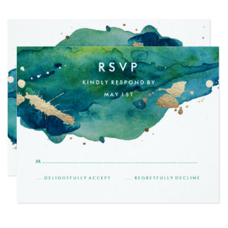 Blue Green and Gold Splatter RSVP Card