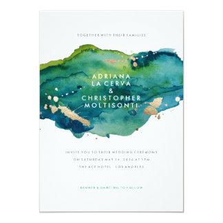Blue Green and Gold Splatter Wedding Invitation