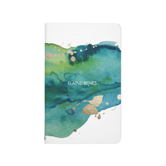 blue green and gold watercolor journal zazzlecom