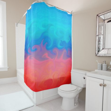 Blue Green and Orange Abstract Design Pattern Shower Curtain